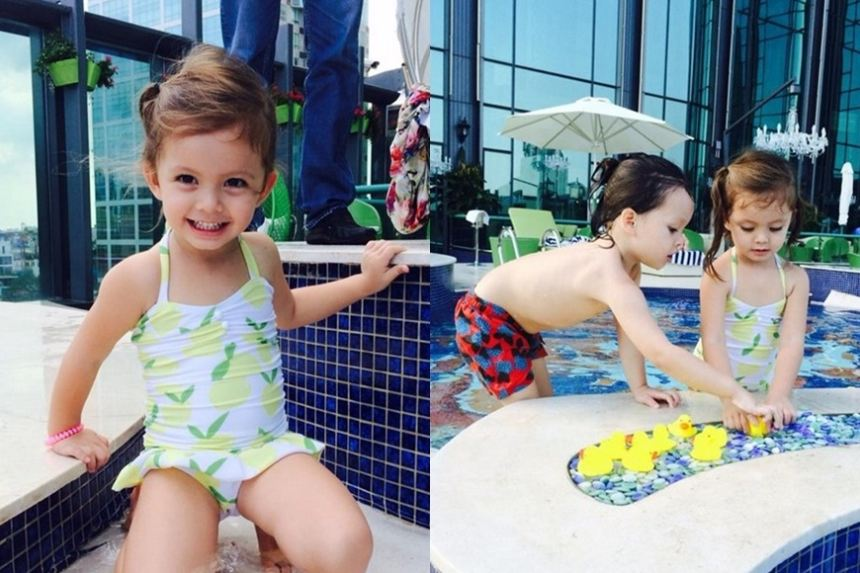 Thời trang bơi cực yêu và sành điệu của nhóc tì nhà sao Việt