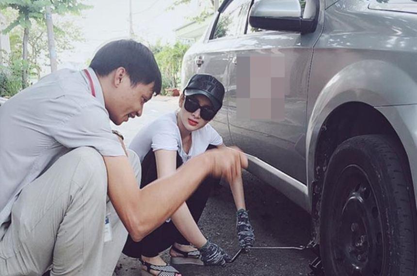Angela Phương Trinh gây bất ngờ khi học sửa xe ô tô