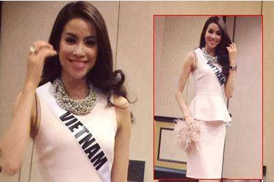 Phạm Hương xinh như búp bê trước giờ gặp Ban giám khảo Hoa hậu Hoàn vũ