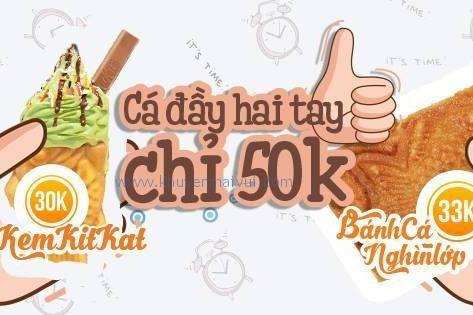 King Taiyaki khuyến mãi Combo Kem cá Matcha + bánh cá nghìn lớp 50k (25/5 - 3/6)