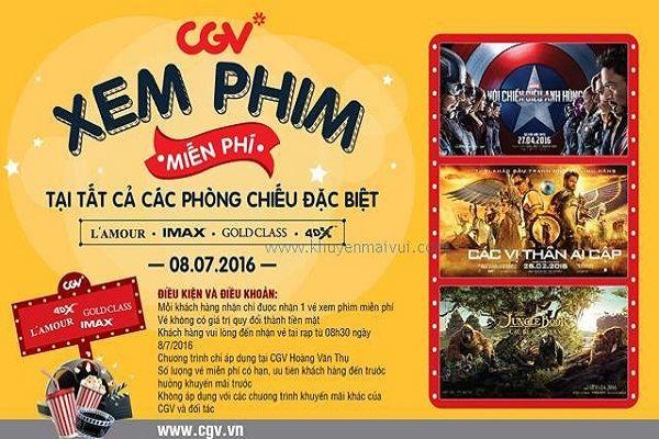 Từ ngày 8 – 14/7/2016 CGV Hoàng Văn Thụ khuyến mãi khai trương – Xem phim miễn phí, cơ hội mua vé IMAX, 4DX giá vé 2D