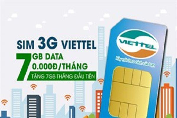 Từ ngày 01/07 sở hữu sim 3G Viettel  - 7GB Data mỗi tháng