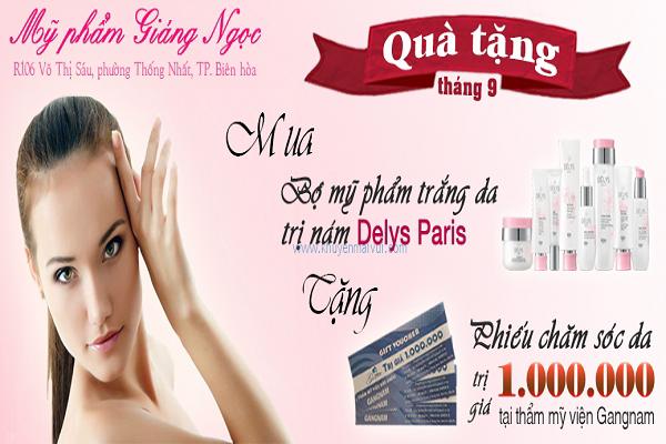 Từ ngày 14/09 - 15/10 Đại lý De1lys Parys Đồng Nai (Tặng phiếu chăm sóc da 1 triệu đồng TMV Giang Nam