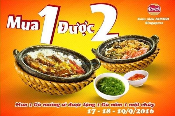 Nhân dịp khai trương ăn cơm niêu gà nướng tặng 1 cơm niêu gà nấm tại Kombo 110-112 Hai Bà Trưng từ ngày 17 - 19/09