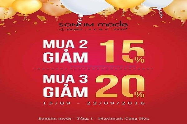 Từ ngày 15 - 22/09 Sonkim Mode Maximark Cộng Hòa khuyến mãi khai trương giảm giá đến 20%