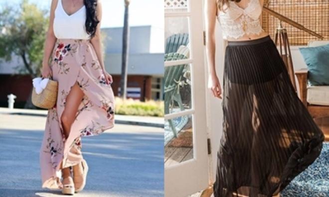 Muôn kiểu biến tấu với chân váy maxi