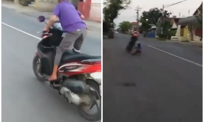 'Quái xế nhí' biểu diễn bốc đầu xe máy và cái kết đắng