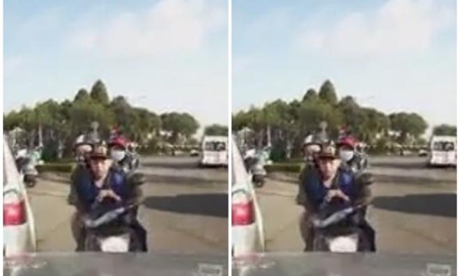 Chạy ngược chiều, 3 cha con suýt bị ô tô tông trực diện
