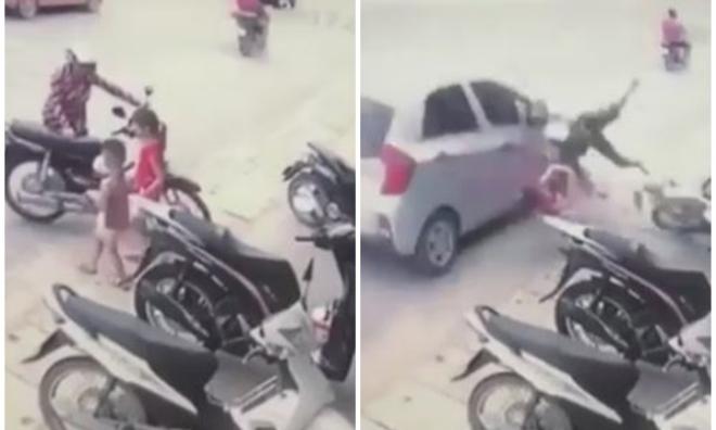 Bị ô tô chạy ẩu tông từ phía sau, ba mẹ con ngã văng ra đường
