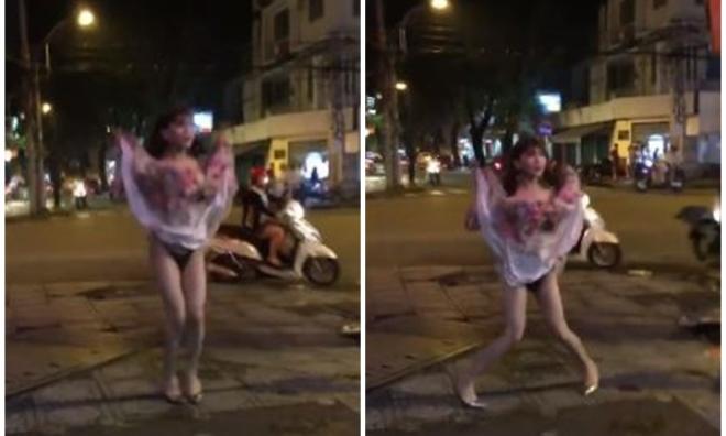 Sốc: Nam thanh niên giả gái hồn nhiên tốc váy khoe nội y giữa phố