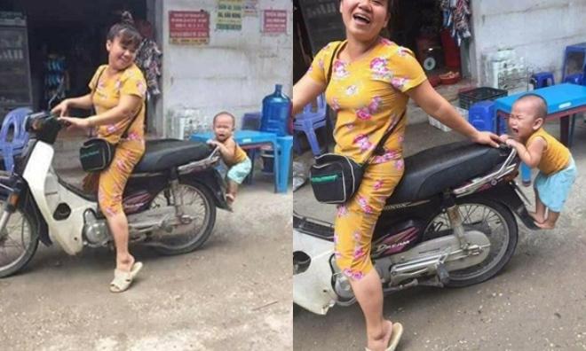 """Bé trai nhảy lên xe không cho mẹ đi chợ khiến dân mạng """"bấn loạn"""" vì yêu ơi là yêu"""