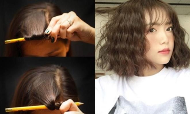 Hướng dẫn tường tận cách làm tóc uốn gợn sóng đẹp 'không cần chỉnh' bằng cây bút chì