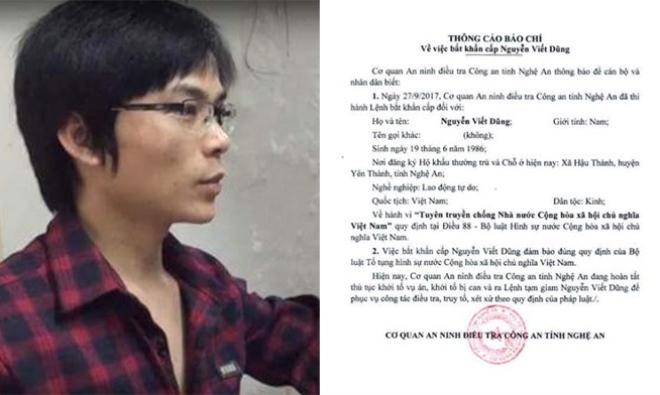 Bắt đối tượng chống phá nhà nước ở Nghệ An