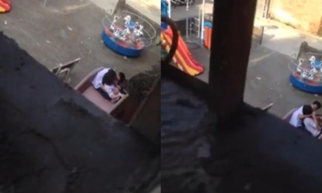 Clip sốc: Cặp đôi học sinh cấp 2 vô tư âu yếm, sờ soạng nhau ngoài công viên