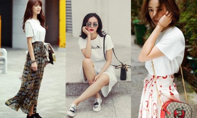 8 kiểu phối sành điệu chỉ với 1 chiếc áo thun trắng