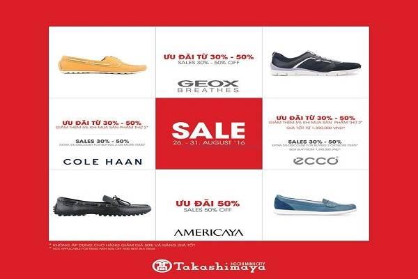 Takashimaya khuyến mãi giảm giá đến 50% giày dép GEOX, ECCO, COLE HAAN, AMERICAYA chỉ trong ngày 31/08 - Ảnh 1