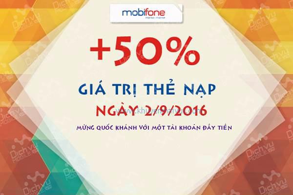 Tặng ngay 50% thẻ nạp cho tất cả các thuê Mobifone bao trả trước nạp thẻ trong ngày 2/9/2016 - Ảnh 1