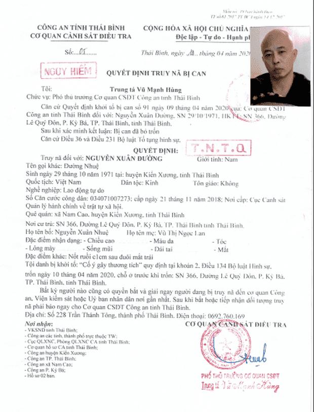 Truy nã toàn quốc Nguyễn Xuân Đường, chồng nữ đại gia bất động sản vừa bị bắt ở Thái Bình - Ảnh 1