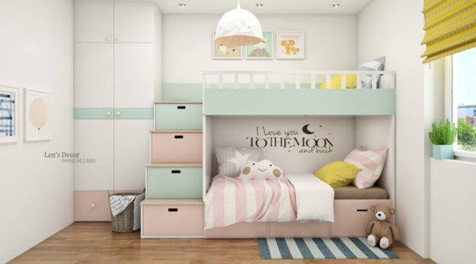Cách phối mầu, trang trí phòng ngủ dễ thương cho trẻ - Ảnh 10