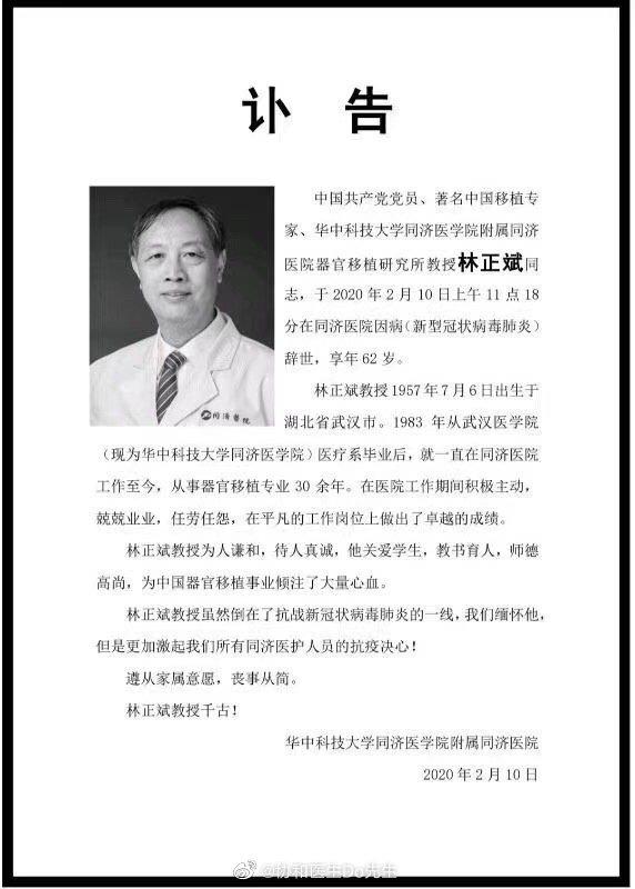Bác sĩ nổi tiếng Trung Quốc qua đời ở Vũ Hán vì nhiễm virus corona - Ảnh 1