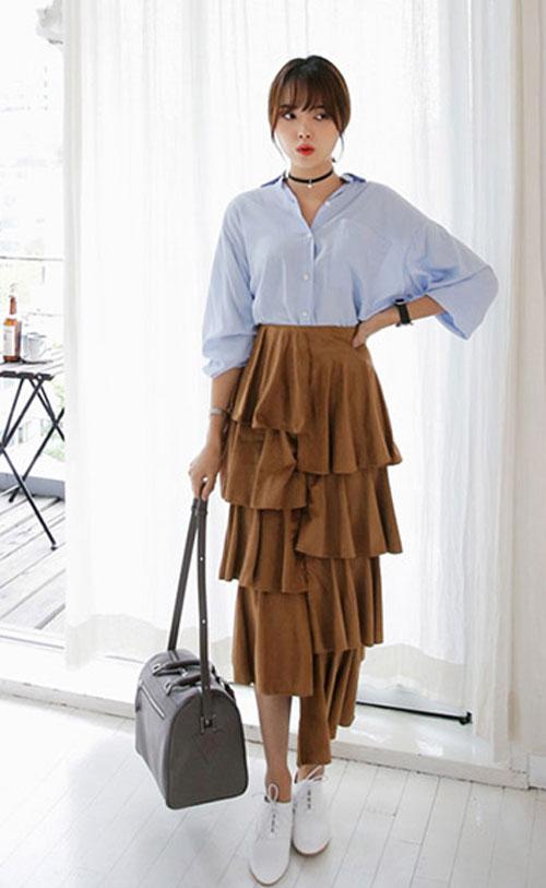 Chân váy xếp tầng dài qua gối: Nàng