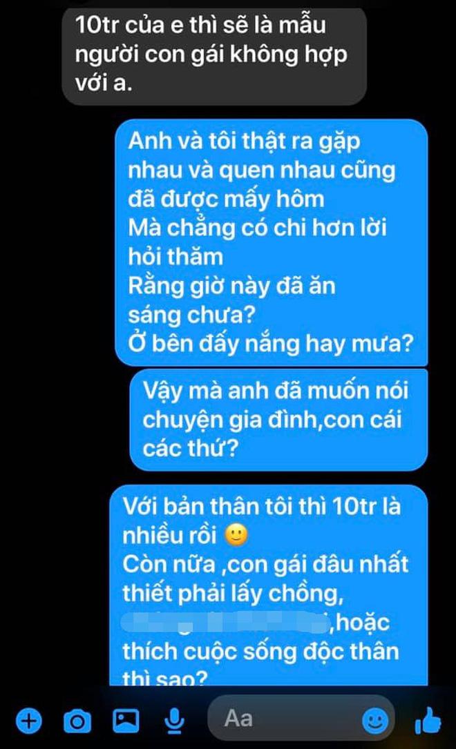 Xôn xao đoạn tin nhắn của thanh niên đi kén vợ: 'Con gái lương tháng 10 triệu chưa đủ tiêu chuẩn của anh' - Ảnh 2