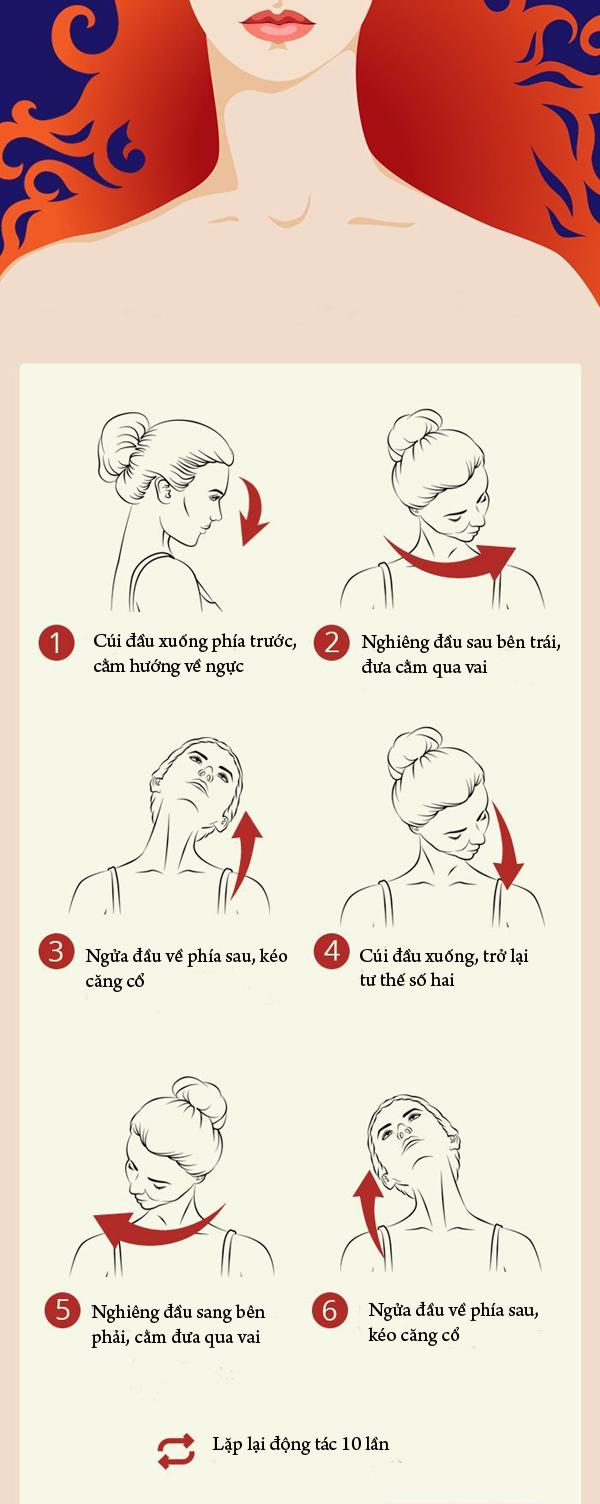Bài tập đơn giản giúp chống nhăn vùng cổ, giảm đau vai gáy - Ảnh 1