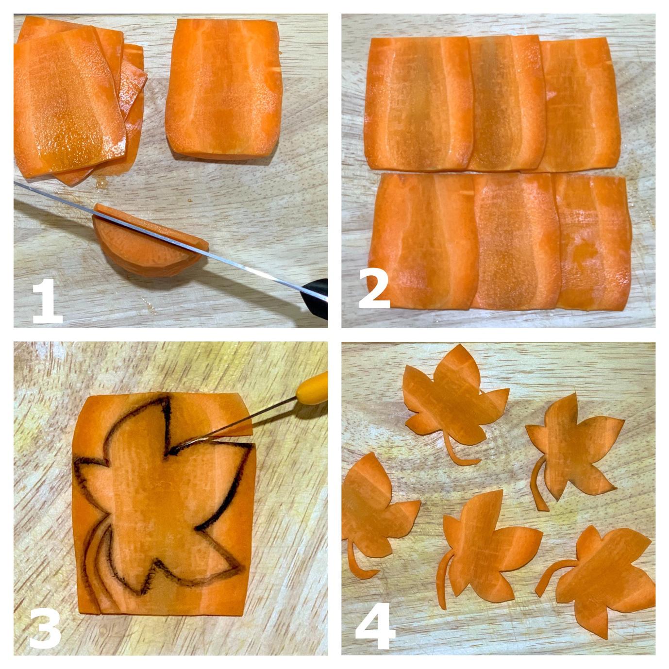 Học ngay cách cắt tỉa cà rốt thành lá phong trang trí đĩa ăn thật đẹp và lãng mạn - Ảnh 3
