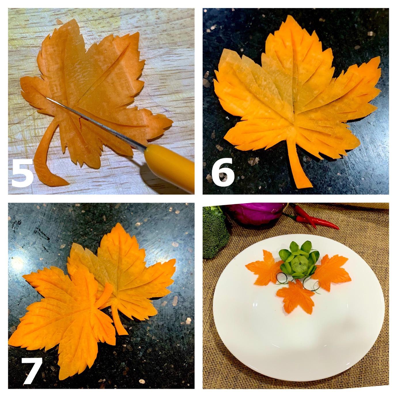 Học ngay cách cắt tỉa cà rốt thành lá phong trang trí đĩa ăn thật đẹp và lãng mạn - Ảnh 5
