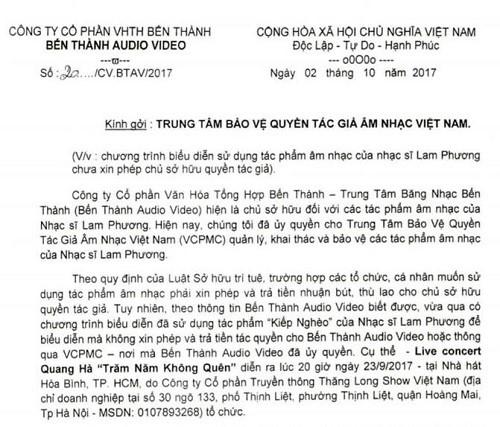 Live concert Quang Hà bị nhiều nhạc sĩ khiếu nại vi phạm tác quyền - Ảnh 1