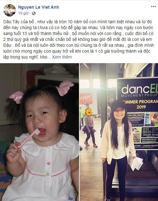 Viết tâm thư thương nhớ con gái, Việt Anh bị vợ cũ vào tận trang cá nhân bình luận: 'Đừng giả tạo nữa' - Ảnh 1