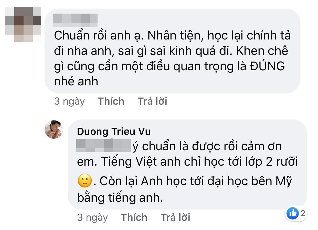 Bị bắt bẻ lỗi chính tả, Dương Triệu Vũ phản bác: 'Tiếng Việt anh chỉ học tới lớp 2' - Ảnh 1