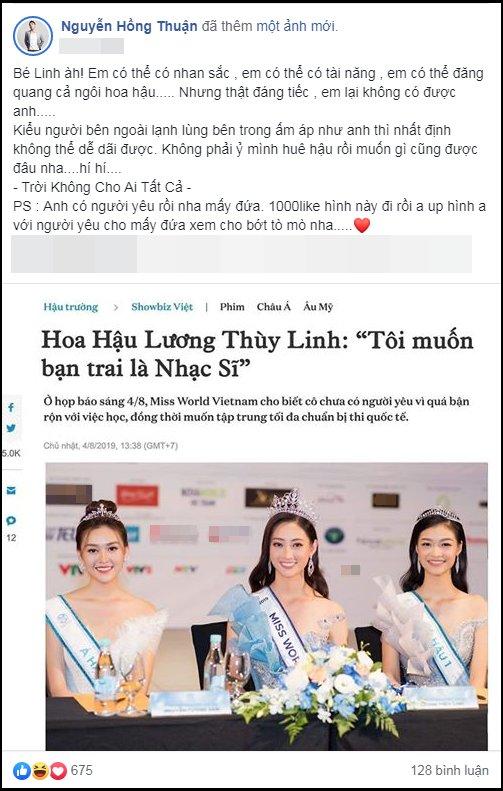 Sau Châu Đăng Khoa, đến lượt Nguyễn Hồng Thuận nhắn Hoa hậu Lương Thùy Linh: 'Em có mọi thứ nhưng không thể có anh' - Ảnh 1