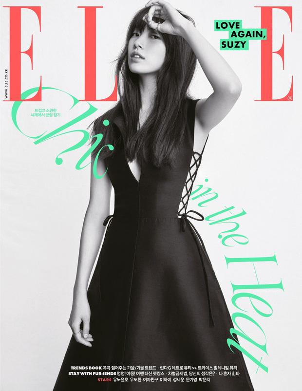 Sau tin 'hẹn hò' Rosé (BLACKPINK), Suzy lại gây xôn xao với ảnh tạp chí diện váy xẻ ngực sâu hoắm, e ấp vòng 1 - Ảnh 1