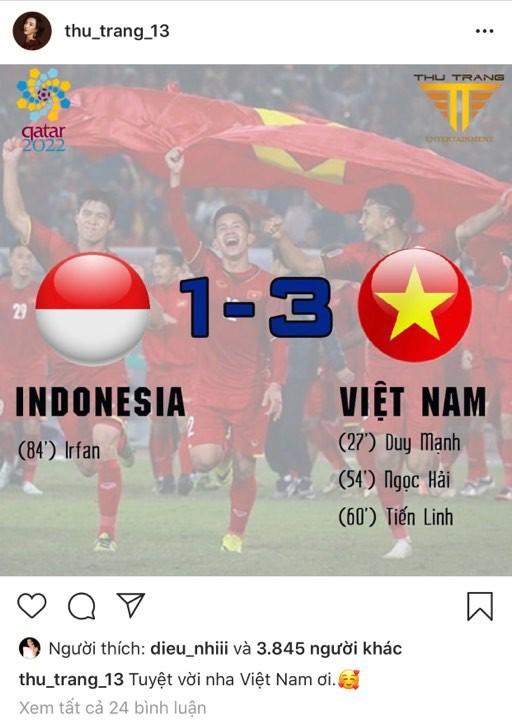 Vợ chồng Thu Trang - Tiến Luật, Kiều Minh Tuấn cùng sao Vbiz hãnh diện khi đội tuyển Việt Nam thắng Indo ở vòng loại World Cup - Ảnh 4
