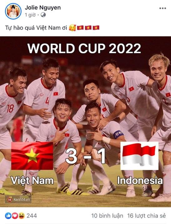Vợ chồng Thu Trang - Tiến Luật, Kiều Minh Tuấn cùng sao Vbiz hãnh diện khi đội tuyển Việt Nam thắng Indo ở vòng loại World Cup - Ảnh 5