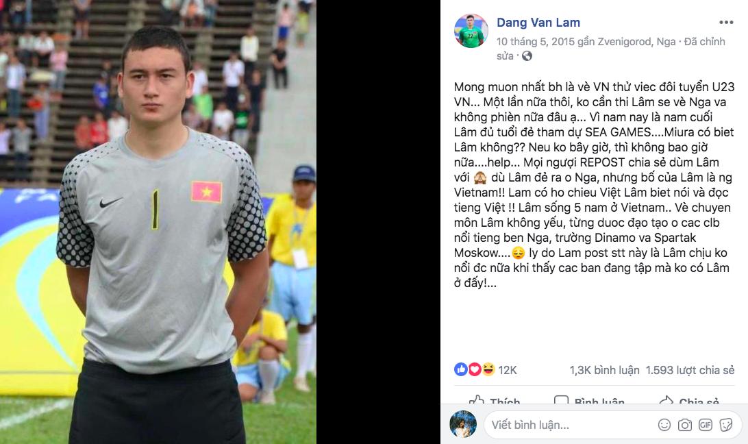 Tâm thư tha thiết của Lâm Tây 3 năm trước: Muốn về Việt Nam thử việc cho U23, nếu không được sẽ về Nga và 'không phiền nữa đâu' - Ảnh 1