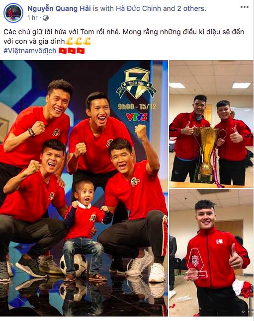 Xúc động dòng status của Quang Hải và Văn Hậu gửi đến bé trai 4 tuổi bị u não - Ảnh 3