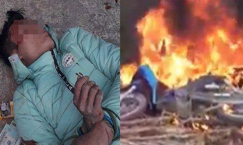 Cẩu tặc bị dân đánh ngất xỉu rồi đốt xe máy - Ảnh 1