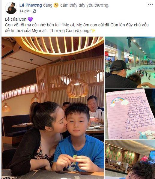Đang bầu bí, Lê Phương nghẹn ngào khi đọc thư con trai gửi lúc cậu bé sắp xa mẹ - Ảnh 1
