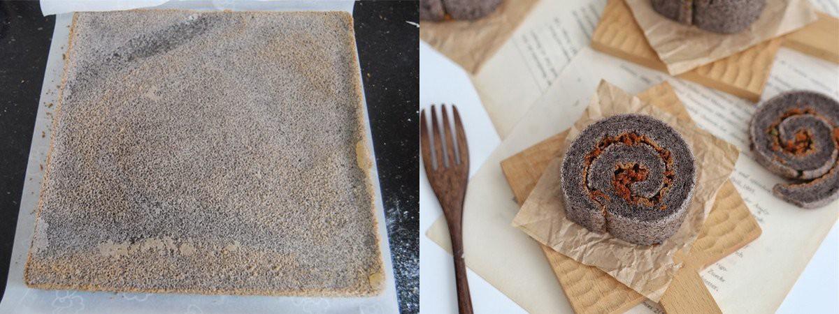 Dùng gạo nếp cẩm làm bánh bông lan cuộn chà bông thật dễ dàng ăn cho 'healthy' nào! - Ảnh 5
