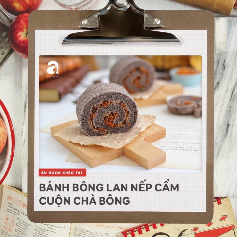 Dùng gạo nếp cẩm làm bánh bông lan cuộn chà bông thật dễ dàng ăn cho 'healthy' nào! - Ảnh 6