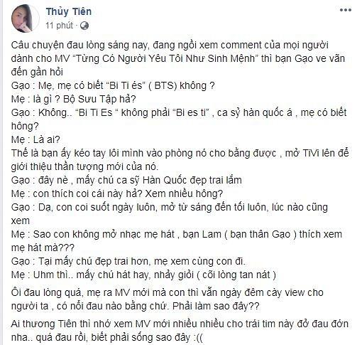 Thủy Tiên 'cõi lòng tan nát' khi con gái không mê MV của mẹ bằng nhóm nhạc BTS - Ảnh 3