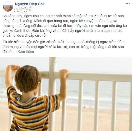 MC Diệp Chi hoảng sợ kể chuyện bé trai 5 tuổi vừa rơi từ tầng 7 chung cư nơi cô đang sống - Ảnh 1