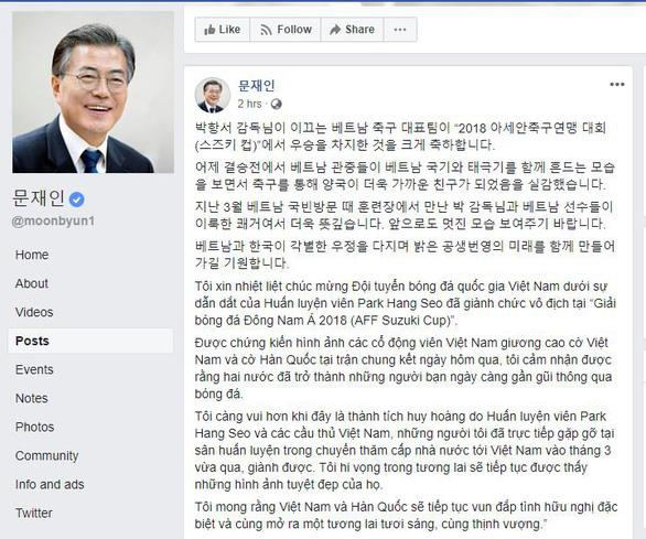Tổng thống Hàn Quốc chúc mừng VN vô địch AFF Cup 2018 bằng tiếng Việt - Ảnh 1