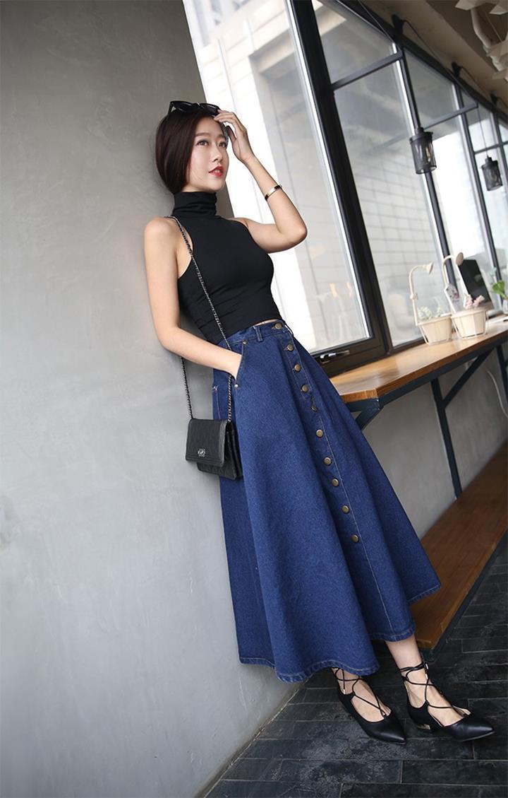 Phối đồ với chân váy jean: Vừa cá tính vừa cổ điển lại cực kỳ năng động - Ảnh 6