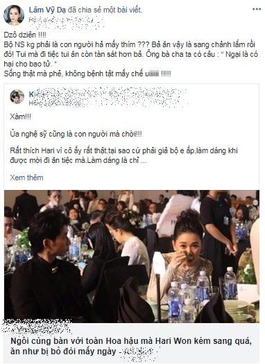 Lâm Vỹ Dạ tức giận 'dằn mặt' anti-fan khi Hari Won bị mỉa mai 'ăn như bị bỏ đói mấy ngày' - Ảnh 4