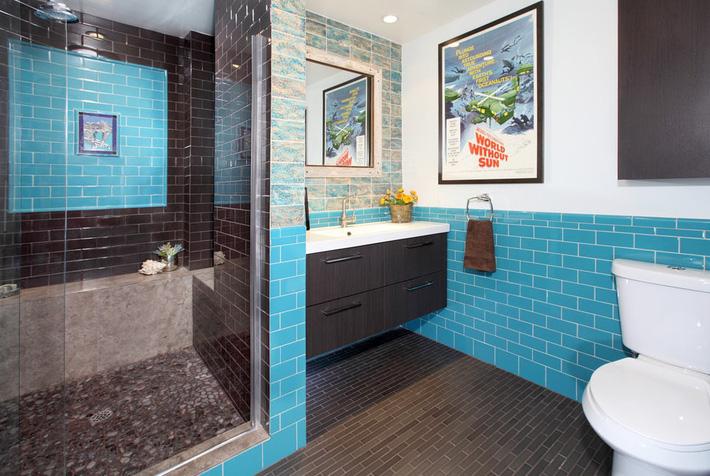 Phòng tắm gia đình sinh động thêm mấy phần nhờ lựa chọn loại gạch ốp này - Ảnh 3