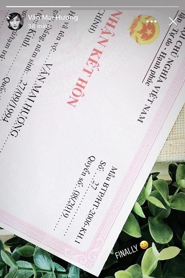 Tranh cãi giấy đăng ký kết hôn của Văn Mai Hương là giả - Ảnh 1