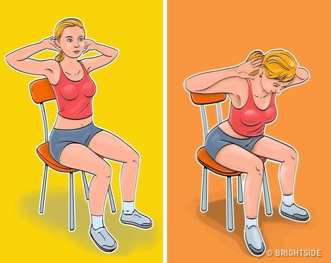 5 bài tập giảm cân, thon gọn vòng eo chỉ cần ngồi trên ghế cực kỳ phù hợp với phụ nữ văn phòng - Ảnh 3